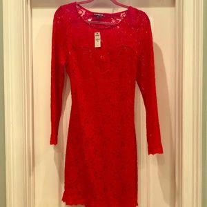 Red mesh dress